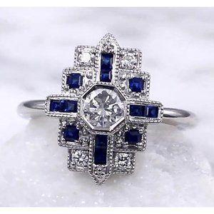 Ceylon Blue Diamond Ring 2.50 Carats Antique Style